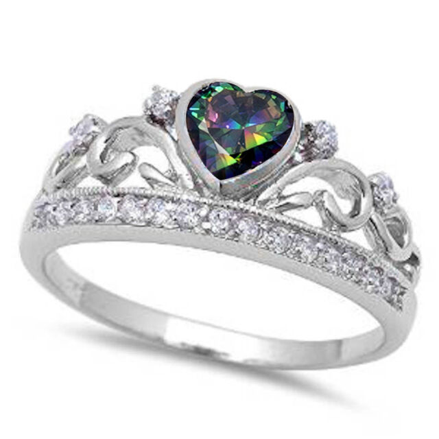 Rainbow Topaz Heart & Cz Crown .925 Sterling Silver Ring Sizes 4-11