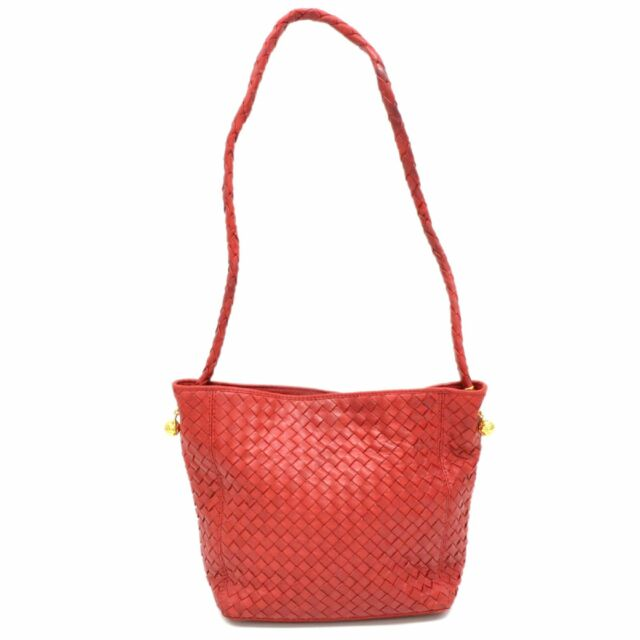 Authentic Bottega Veneta Intrecciato Leather One Shoulder Bag Red Gold  Vintage b371526b42d2b