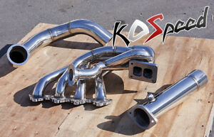 FOR HONDA B-SERIES STAINLESS TUBULAR TOP MOUNT TURBO MANIFOLD T4 + DOWNPIPE