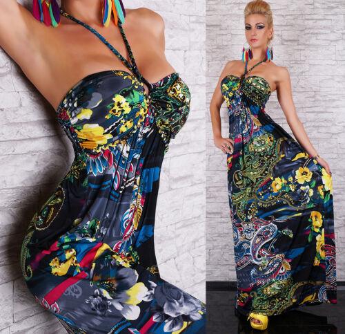 Womens Summer Halterneck Hippie Backless Long Maxi Dress size 10 12 14 16
