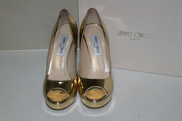 Nouveau 8.5 38.5 Jimmy Choo Couronne Plate-Forme Or Or Or Cuir Verni Bout Ouvert Pompe Chaussures b366b0