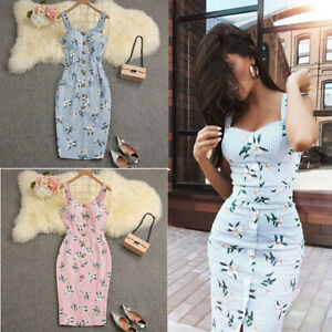 US-Women-Summer-Bandage-Sleeveless-Bodycon-Dress-Floral-Evening-Party-Gown-Dress