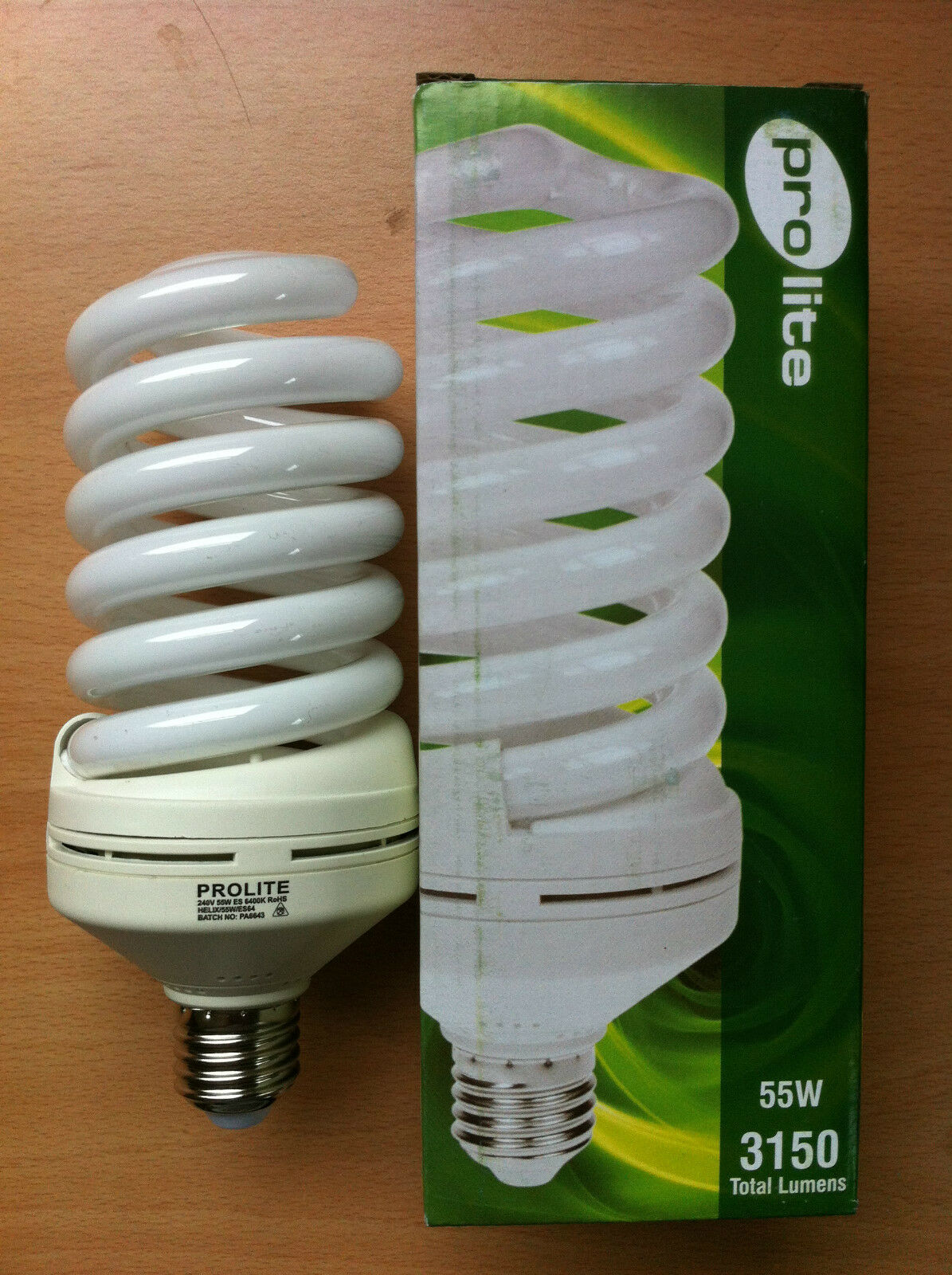 55w watt ES E27 Screw In Energy Saving Spiral CFL Daylight 6400k Bulb x 4