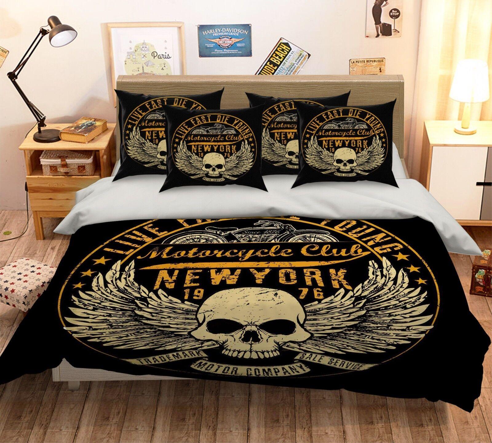3D Skull Pattern 42 Bed Pillowcases Quilt Duvet Cover Set Single Queen King AU
