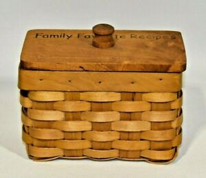 Vintage-Handmade-Woven-Wicker-Basket-Recipe-Card-Box-Holder-Holds-3x5-034-Cards-EUC