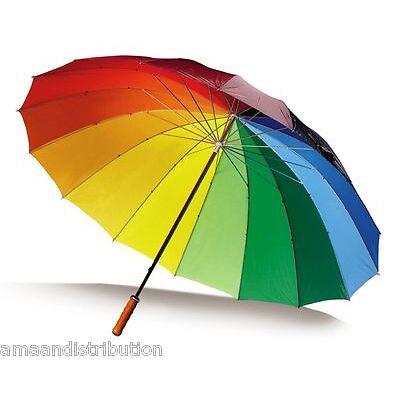 LARGE BRIGHT MULTI COLOURFUL RAINBOW GOLF UMBRELLA - UNISEX PARASOL