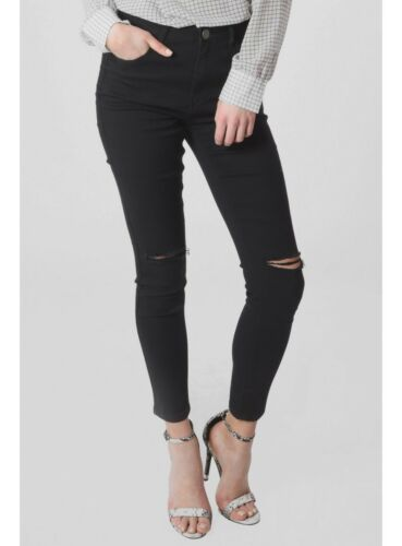 New Ladies High Waist Stretch Skinny Fit Ripped Knee Black Denim Jean Size 8-16