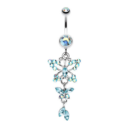 Glam Butterfly Fall Fancy Belly Navel Button Ring Aurora Borealis 14G