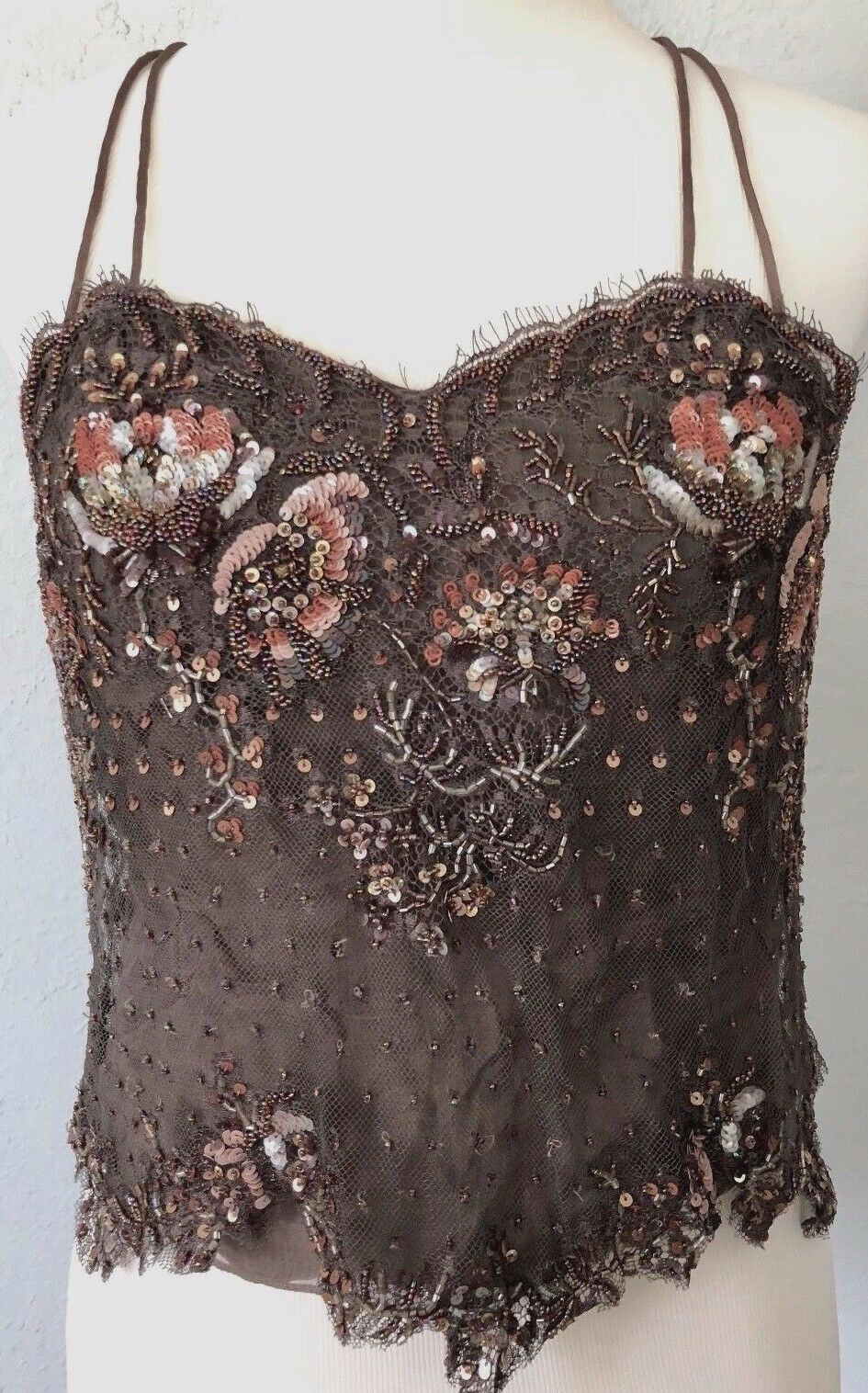 8 Lily Samii sequined beaded lined lace Silk Cami Tank top tunic dress USA