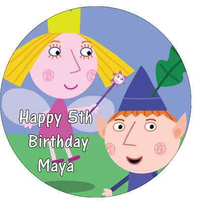 """Ben And Holly/'s Little Kingdom Personalised Cake Topper 7.5/"""" Edible Wafer Paper"""