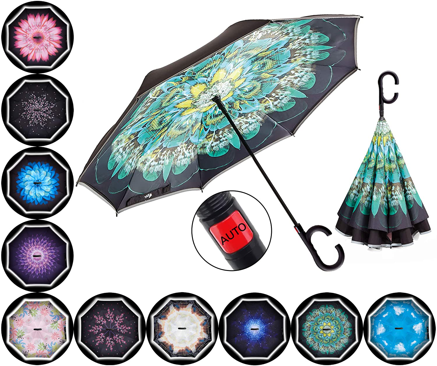 HOSA Auto Open Reverse Inverted Umbrella   Night Safety Reflective Strips, Doubl