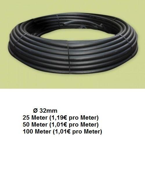 PE-Rohr 32 x 2,8 mm 6 bar Wasserrohr Gartenschlauch Wasserschlauch PROFIQUALITÄT