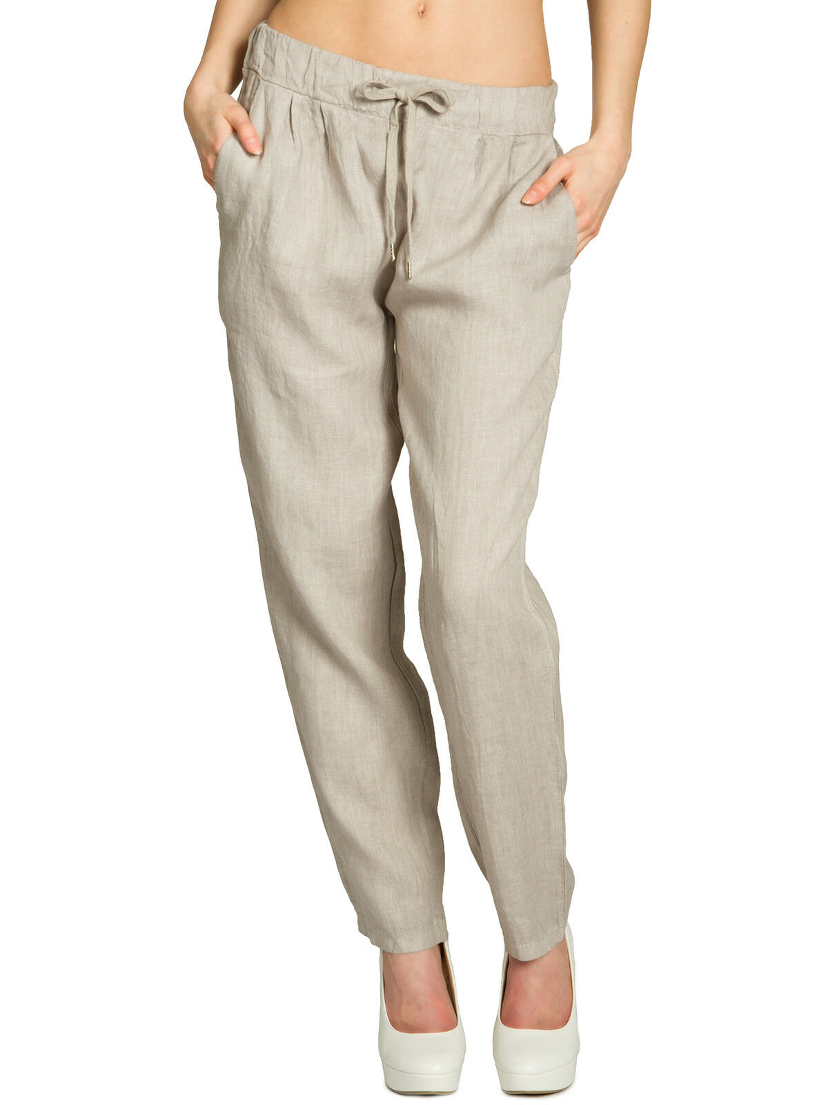 CASPAR KHS045 lange Damen Sommer Hose Leinenhose JogHose leicht elegant lässig