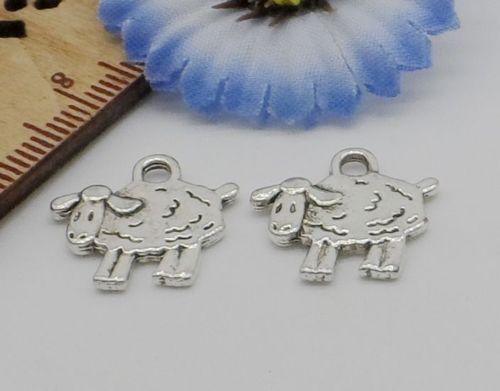 Free Ship 50Pcs Tibetan Silver Sheep Charms Pendant Fit Bracelet 15x15mm