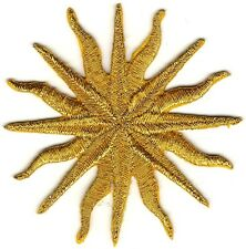 "2 1/2"" Light Metallic Gold Pagan Astrology Sun Star Embroidery Patch"