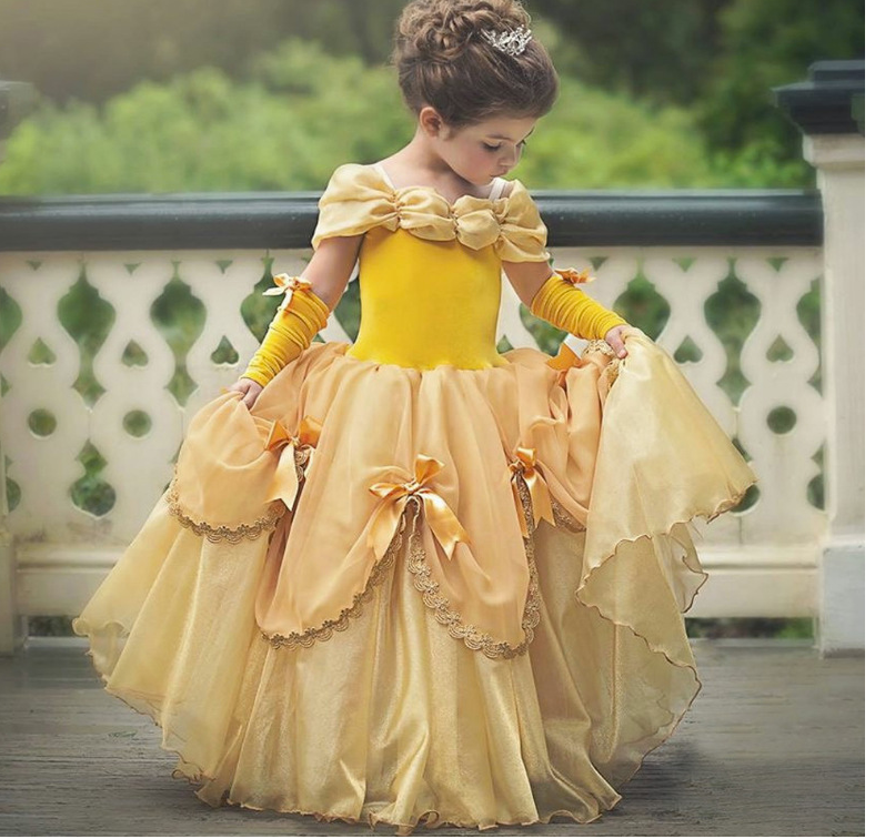 New Kid Girl Beauty /& the Beast Fancy Dress Belle Princess Costume Cosplay Crown
