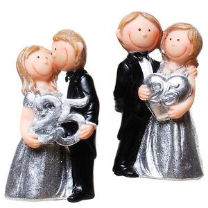 25 Jahre Silberne Hochzeit Dekofigur Tischdeko Figur Jubilar Paar