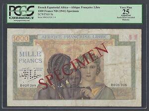 Afrique Equatoriale Française-Afrique FRANCAIS LIBRE 1000 francs L1941 Spécimen P9s