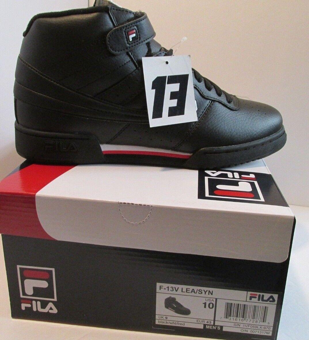 new concept bf96c 96cd4 Mens Fila F-13V F-13V F-13V LEA SYN Hi-Top Basketball scarpe Dimensione 10 nero  rosso bianca (8-1277 c6c82d