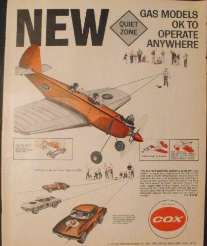 1966 Cox Gas Powered Model Airplane~QZ Corvette Sting-Ray Toy Memorabilia Art AD