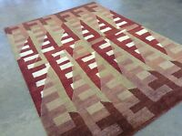 6'.1 X 9'.2 Red Gold Modern Nepalese Persian Oriental Area Wool Rug Handmade