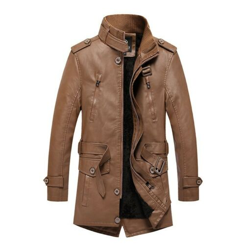 Winter Men/'s Leather Jacket Outwear Trench Coat Fleece Lined Thick Belted Casual
