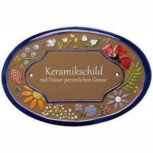 Keramik-Schild-20-5-x-14-0-cm-mit-Gravur-Wildbluetendekor-TUE132