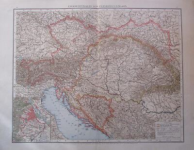 1893 Übersichtskarte von Österreich-Ungarn - 54x41 cm alte Karte old map