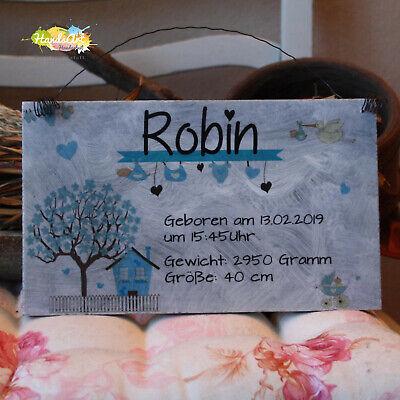 EntrüCkung Shabby Style -geburtsschild Haus Junge- Geschenk Taufe Geburt