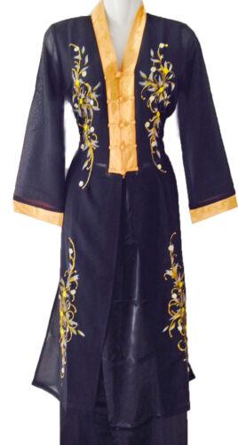 Vêtement asiatique Ao dai Vietnam Chinois Japon col V Noir Doré de taille 38 48