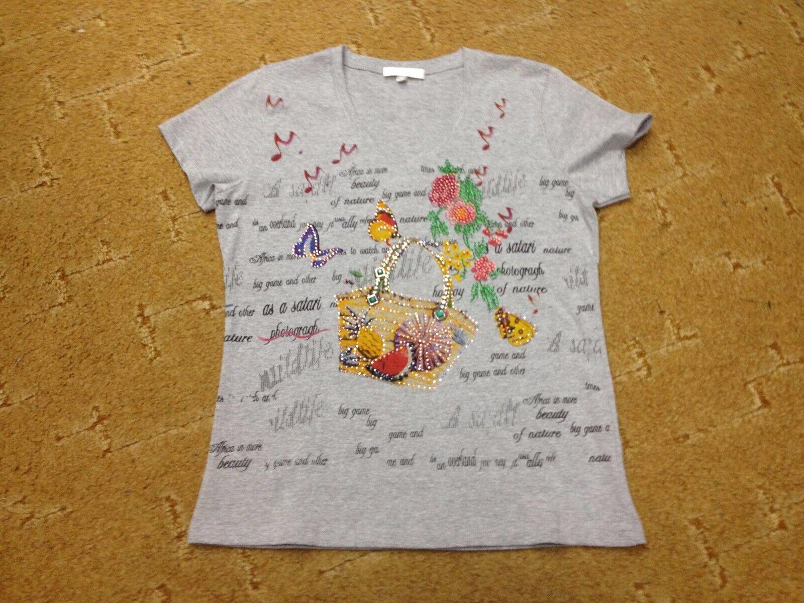 Damen Oberteil Hemd T-Hemd grau flott flippig Glitzer Schuhe Tasche Gr. M