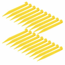 "Tent Pegs Heavy Duty Plastic Pack of 6 Reinforced 8/"" Stakes Yellow for Guy Ropes"