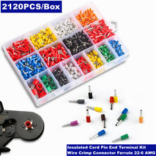 2120pcs Insulated Cord Pin End Terminal 22 6awg Wire Crimp Connector Ferrule Kit