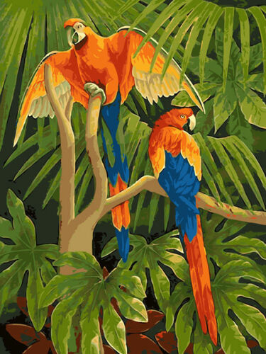 Pair Of Parrot On Tree Beautiful Printed Needlepoint Canvas 029