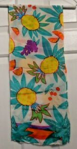 TERRIART-Multi-Color-Drawings-of-Fruits-10x52-Lg-Scarf-Vintage-Liz-Clairborne