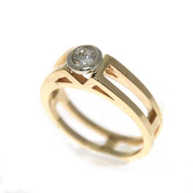 14k Yellow Gold 1/4ct Diamond Ring Size 6