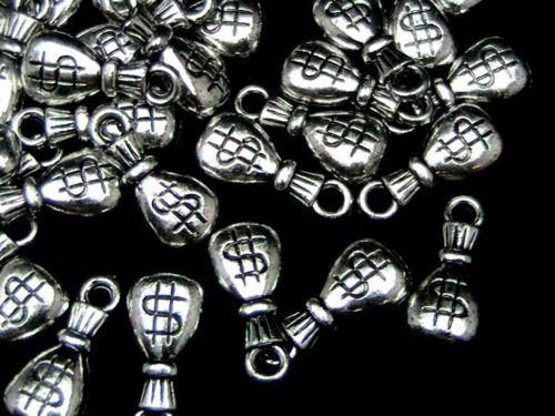 40 pcs-Sac Argent Acrylique CCB charmes 20mm craft fabrication de bijoux perles P153