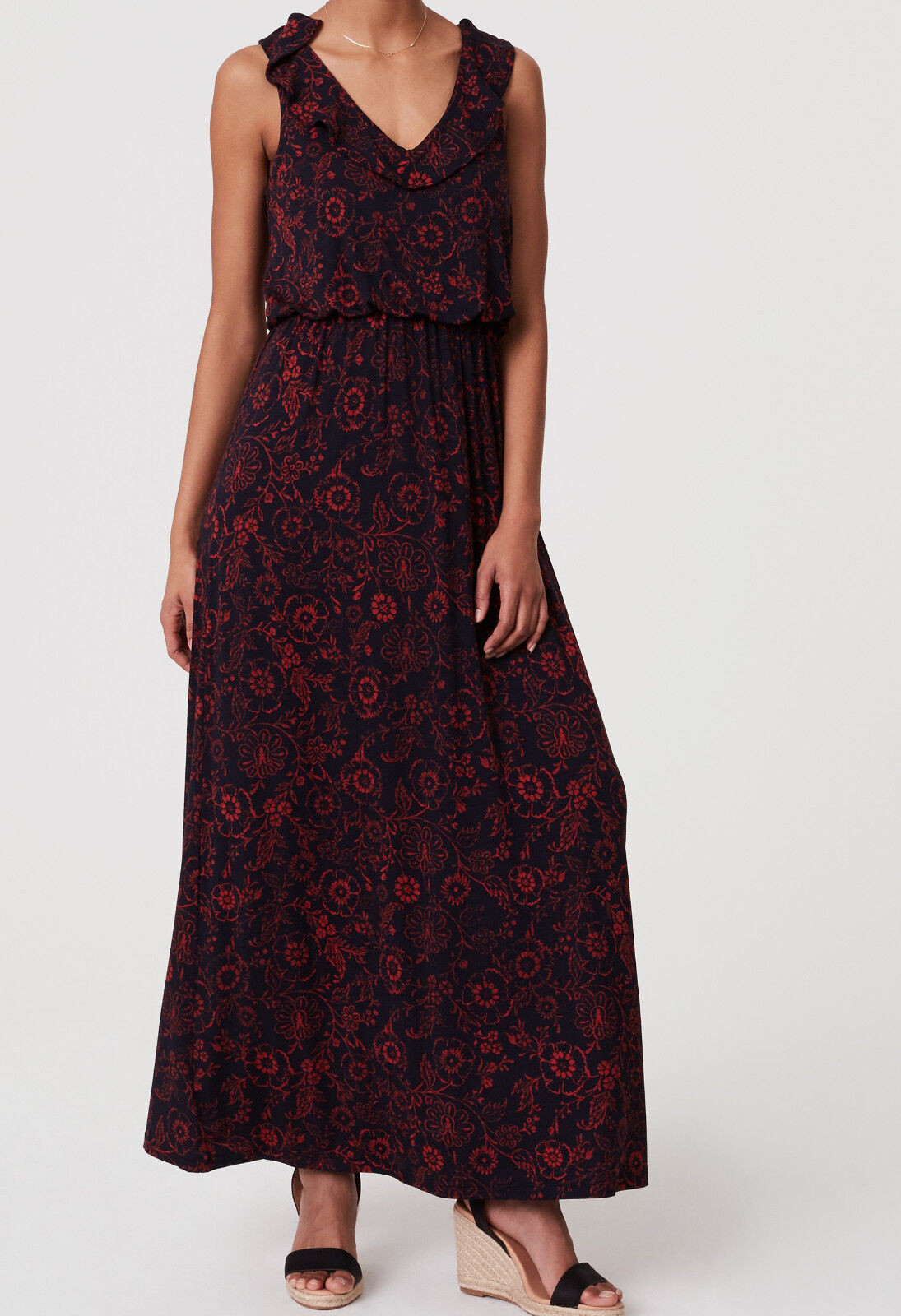NWT Ann Taylor LOFT Floral Ruffle Maxi Dress Größe XS
