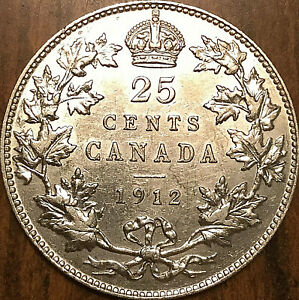 1912-CANADA-SILVER-25-CENTS-QUARTER-COIN-Uncirculated-details-cleaned