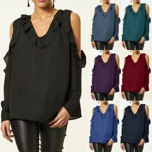 53dac5d235e10b Women Chiffon Cold Shoulder Blouse Shirt Ruffle Loose Autumn Holiday ...