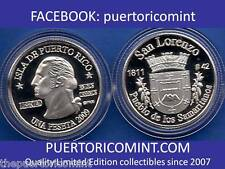 Silver PESETA SAN LORENZO 2009 Puerto Rico Boricua Quarter 1/100 Plata