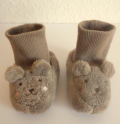 Baby Schuhe Hausschuhe Plüsch braun Bärchen 9-10 cm