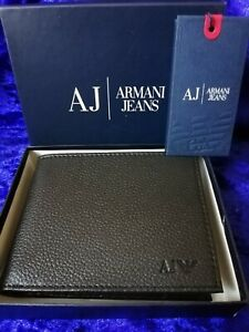 Armani-Jeans-Men-039-s-Black-Leather-Wallet-Bi-Fold-With-Coin-pocket