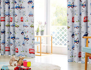 Image Is Loading Blockout Eyelet Curtains Truck Bus Boy Kids Room