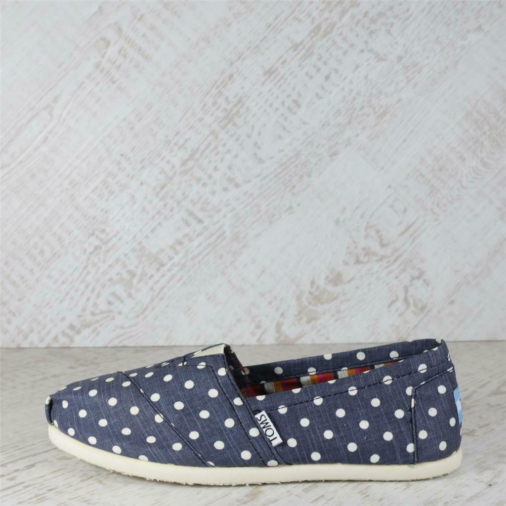 Womens Toms Classic Navy Polka Dot Slip On Shoes (SF3) RRP