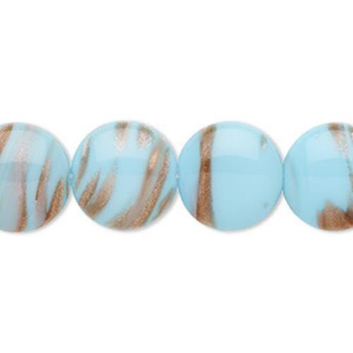 4507 Bead Glass Opaque Blue Copper 14mm Coin PK2 *UK  SHOP*