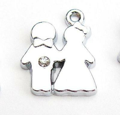 Home Improvement 10 The Groom & Bride Wedding Crystal Rhinestone Silver Plated Charm/craft K66 Driving A Roaring Trade