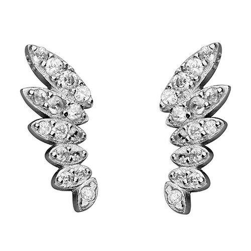 Ausdrucksvoll Angel Wing Up-the-ear Stud 925 Sterling Silver Simulated Diamond Earrings