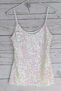 b03204fd20082 White Sequin Tank Top Blouse Iridescent Camisole Shirt Bling Shimmer ...