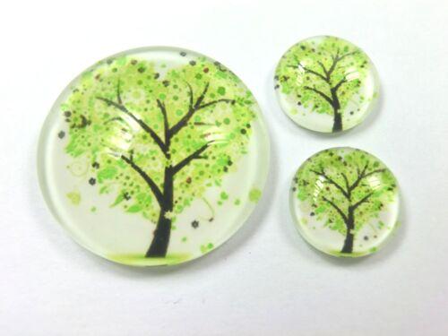 3 er Glas Cabochons Set 1 x 25mm /& 2 x 12mm Baum #180